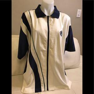 NEW Men's Nike White/Blue Collar Zip Up Shirt